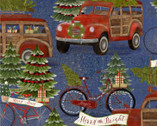 Jingle All The Way - Hauling Trees Blue from 3 Wishes Fabric