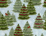 Jingle All The Way - Christmas Trees Blue from 3 Wishes Fabric
