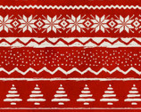 Jingle All The Way - Sweater Stripe Red from 3 Wishes Fabric