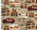 Harvest Campers - Trailers Cream from 3 Wishes Fabric