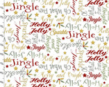 Shimmer and Sparkle - Words White from 3 Wishes Fabric