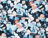 Chelsea - Watercolor Flower Leaves Blue from Robert Kaufman Fabric