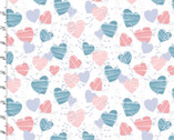 Mommy and Me FLANNEL - Hearts White from 3 Wishes Fabric