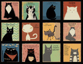 Snarky Cats - Cat Blocks PANEL 24 Inch Black by Dan DiPaolo from Clothworks Fabric
