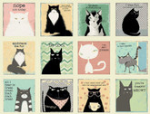 Snarky Cats - Cat Blocks PANEL 24 Inch Cream by Dan DiPaolo from Clothworks Fabric