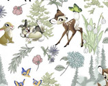Bambi - Bambi and Friends Floral Toss White by Disney from Springs Creative Fabric
