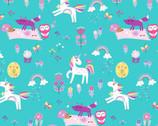 Unicorn Magic Pearlescent - Magical Forest Aqua by Kanvas Studio from Benartex Fabrics