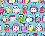 Sweet Appeal Anti Pill FLEECE - Owls  Aqua from David Textiles Fabrics