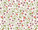 Daisy Mae - Berry Blossoms White from Poppie Cotton Fabric