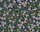 Daisy Mae - Berry Blossoms Navy from Poppie Cotton Fabric
