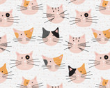 Tails and Whiskers - Cat Faces White by The Tiny Garden from Paintbrush Studio Fabrics