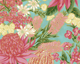 Under the Australian Sun Metallic - Spring Floral Aqua Dusty Pink from The Textile Pantry