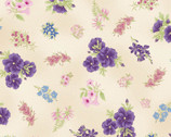 Under the Australian Sun Metallic - Purple Floral Toss Cream from The Textile Pantry