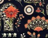 Melba Metallic - Nouveau Black Floral Items from The Textile Pantry