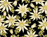 Under the Australian Sun Metallic - Cream Floral on Black from The Textile Pantry