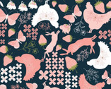 Daisy Mae - Country Life Floral Berry Animals Black from Poppie Cotton Fabric