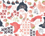 Daisy Mae - Country Life Floral Berry Animals White from Poppie Cotton Fabric