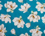 Plants Southern - Magnolia Floral Teal from Cosmo Fabric