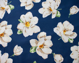 Plants Southern - Magnolia Floral Navy from Cosmo Fabric