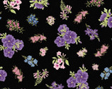 Under the Australian Sun Metallic - Purple Flower Toss on Black from The Textile Pantry