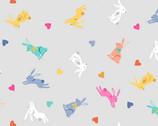 Spring - Rabbits Hearts Grey from Makower UK  Fabric