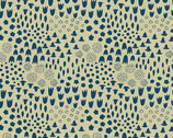 Tiger Plant - Folk Floral Tailored Cloth Cerulean from Andover Fabrics