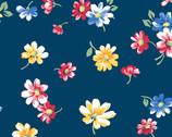 Strawberry Jam - Falling Blossoms Blue from Andover Fabrics