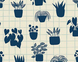 Home - House Plants Ivory  Grid from Andover Fabrics