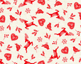 Scandi - Icon Scatter Red from Makower UK  Fabric