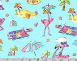 Flamingo Beach - Beach Aqua by Mary Jane Mitchell from Robert Kaufman Fabrics