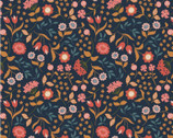 Chieveley - Country House Floral Darkest Blue from Lewis and Irene Fabric