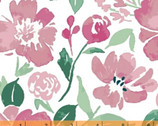 Pink Lemonade - Painted Floral White by Tessie Fay from Windham Fabrics