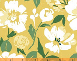 Pink Lemonade - Painted Floral Mustard Yellow by Tessie Fay from Windham Fabrics
