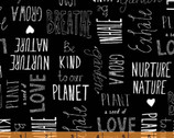 Love The Earth - Nature Lover Words Black by Virginia Kraljevic from Windham Fabrics