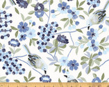 Serenade - Floral Perched Birds on White by Whistler Studios from Windham Fabrics