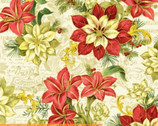 A Song of Christmas Metallic - Florals Scrolls Cream by Whistler Studios from Windham Fabrics