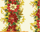 A Song of Christmas Metallic - Floral Stripe by Whistler Studios from Windham Fabrics