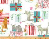 Make Merry - Gift Wrapped Cats White by Maria Carluccio from Windham Fabrics