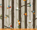 Bear Camp - Birds on Branches Tan by Whistler Studios from Windham Fabrics