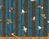 Bear Camp - Birds on Branches Blue Teal by Whistler Studios from Windham Fabrics