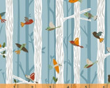 Bear Camp - Birds on Branches Blue by Whistler Studios from Windham Fabrics