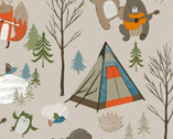 Copy of Bear Camp - Forest Trees White by Whistler Studios from Windham Fabrics