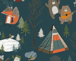 Bear Camp - Camp Animals Teal Blue by Whistler Studios from Windham Fabrics
