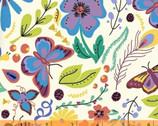 Juniper - Butterfly Floral Cream by Jessica VanDenburgh from Windham Fabrics