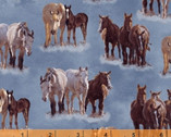 Happy Trails - Horses Blue by Roy Rogers from Windham Fabrics