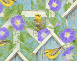Hydrangea Birdsong - Bird Trellis Morning Glory from Henry Glass Fabric