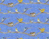 Hydrangea Birdsong - Birds on Branch Blue from Henry Glass Fabric