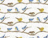 Hydrangea Birdsong - Birds on Branch White from Henry Glass Fabric