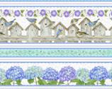 Hydrangea Birdsong - Birdhouse Stripe from Henry Glass Fabric