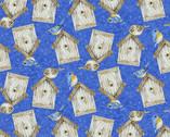 Hydrangea Birdsong - Tossed Birdhouse Blue from Henry Glass Fabric